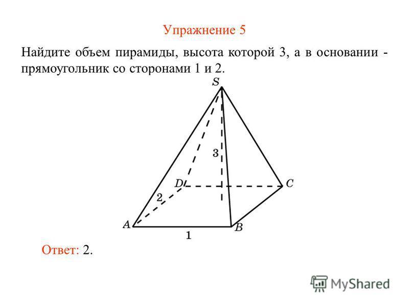 Упражнение 5 Найдите объем пирамиды, высота которой 3, а в основании - прямоугольник со сторонами 1 и 2. Ответ: 2.