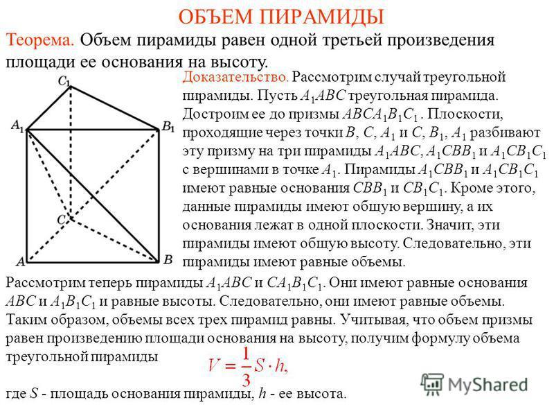 ОБЪЕМ ПИРАМИДЫ Теорема. Объем пирамиды равен одной третьей произведения площади ее основания на высоту. Доказательство. Рассмотрим случай треугольной пирамиды. Пусть A 1 ABC треугольная пирамида. Достроим ее до призмы ABCA 1 B 1 C 1. Плоскости, прохо
