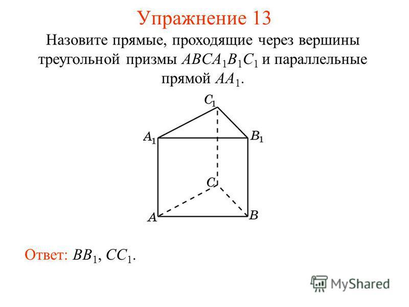 Ответ: BB 1, CC 1. Упражнение 13 Назовите прямые, проходящие через вершины треугольной призмы ABCA 1 B 1 C 1 и параллельные прямой AA 1.