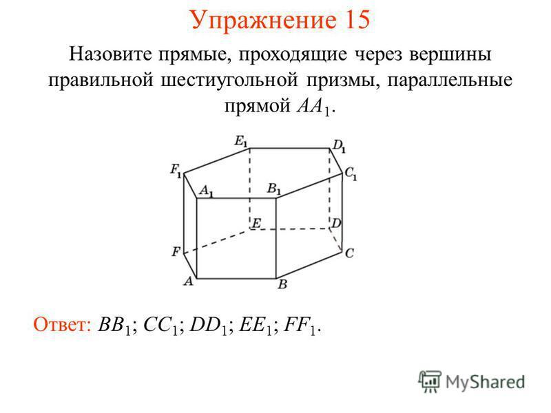 Ответ: BB 1 ; CC 1 ; DD 1 ; EE 1 ; FF 1. Назовите прямые, проходящие через вершины правильной шестиугольной призмы, параллельные прямой AA 1. Упражнение 15