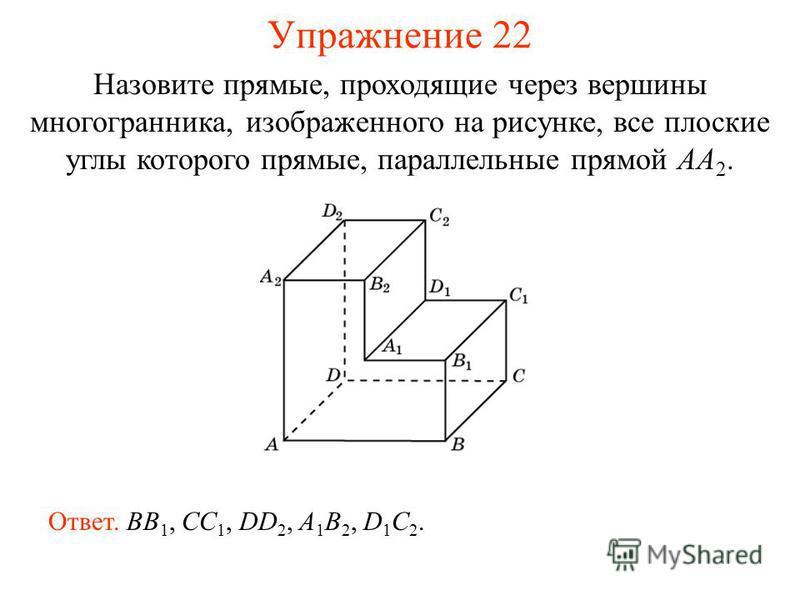 Назовите прямые, проходящие через вершины многогранника, изображенного на рисунке, все плоские углы которого прямые, параллельные прямой AA 2. Ответ. BB 1, CC 1, DD 2, A 1 B 2, D 1 C 2. Упражнение 22