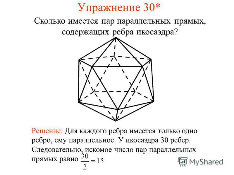 Сколько имеется пар параллельных прямых, содержащих ребра икосаэдра? Решение: Для каждого ребра имеется только одно ребро, ему параллельное. У икосаэдра 30 ребер. Следовательно, искомое число пар параллельных прямых равно Упражнение 30*