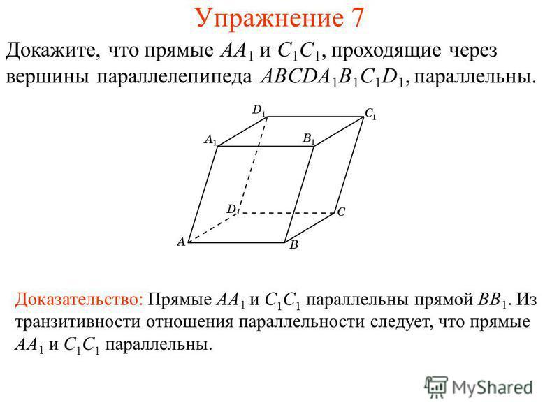 Доказательство: Прямые AA 1 и C 1 C 1 параллельны прямой BB 1. Из транзитивности отношения параллельности следует, что прямые AA 1 и C 1 C 1 параллельны. Докажите, что прямые AA 1 и C 1 C 1, проходящие через вершины параллелепипеда ABCDA 1 B 1 C 1 D