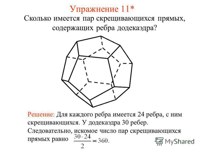 Сколько имеется пар скрещивающихся прямых, содержащих ребра додекаэдра? Решение: Для каждого ребра имеется 24 ребра, с ним скрещивающихся. У додекаэдра 30 ребер. Следовательно, искомое число пар скрещивающихся прямых равно Упражнение 11*