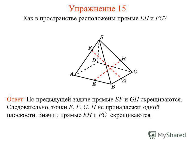 Ответ: По предыдущей задаче прямые EF и GH скрещиваются. Следовательно, точки E, F, G, H не принадлежат одной плоскости. Значит, прямые EH и FG скрещиваются. Как в пространстве расположены прямые EH и FG? Упражнение 15