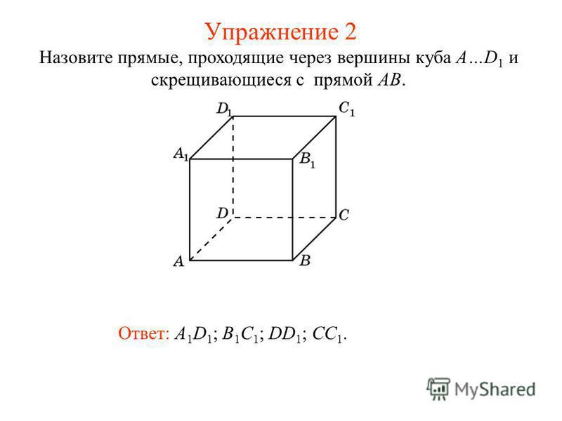 Ответ: A 1 D 1 ; B 1 C 1 ; DD 1 ; CC 1. Назовите прямые, проходящие через вершины куба A…D 1 и скрещивающиеся с прямой AB. Упражнение 2