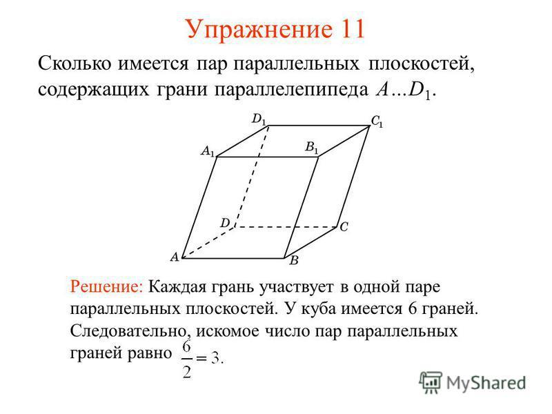 Сколько имеется пар параллельных плоскостей, содержащих грани параллелепипеда A…D 1. Решение: Каждая грань участвует в одной паре параллельных плоскостей. У куба имеется 6 граней. Следовательно, искомое число пар параллельных граней равно Упражнение