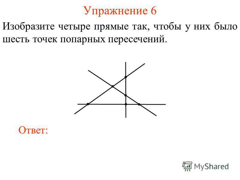 Упражнение 6 Изобразите четыре прямые так, чтобы у них было шесть точек попарных пересечений. Ответ: