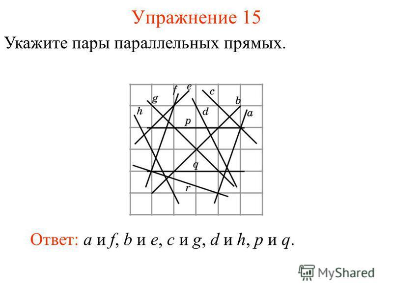 Упражнение 15 Укажите пары параллельных прямых. Ответ: a и f, b и e, c и g, d и h, p и q.