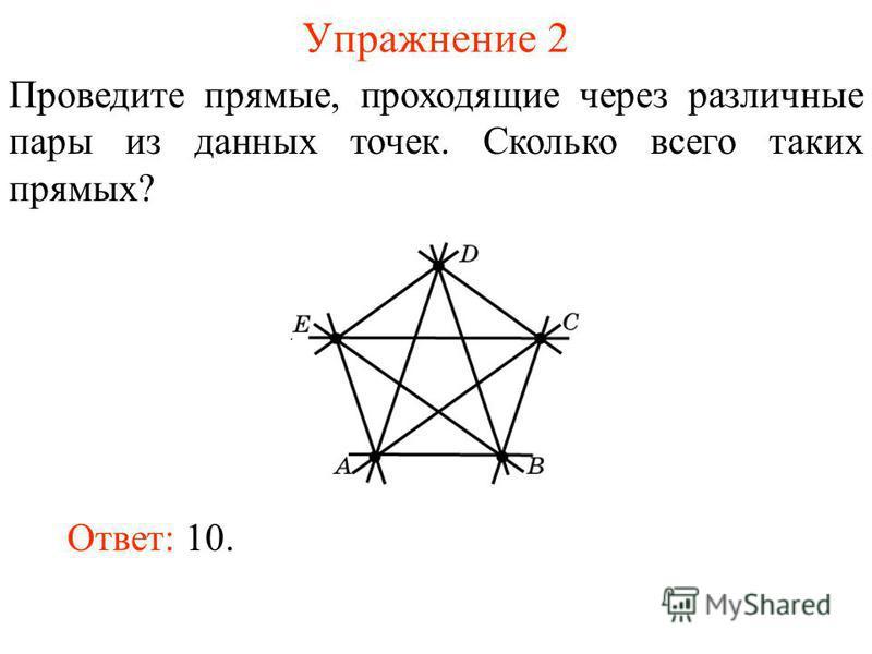 Упражнение 2 Проведите прямые, проходящие через различные пары из данных точек. Сколько всего таких прямых? Ответ: 10.