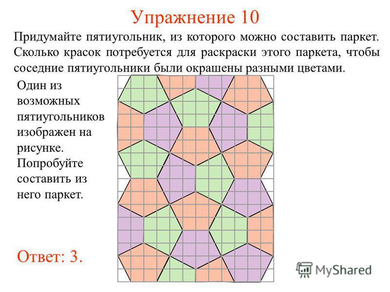 Упражнение 10 Придумайте пятиугольник, из которого можно составить паркет. Сколько красок потребуется для раскраски этого паркета, чтобы соседние пятиугольники были окрашены разными цветами. Один из возможных пятиугольников изображен на рисунке. Попр