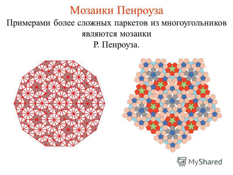 Мозаики Пенроуза Примерами более сложных паркетов из многоугольников являются мозаики Р. Пенроуза.