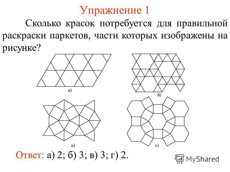 Упражнение 1 Сколько красок потребуется для правильной раскраски паркетов, части которых изображены на рисунке? Ответ: а) 2; б) 3; в) 3; г) 2.