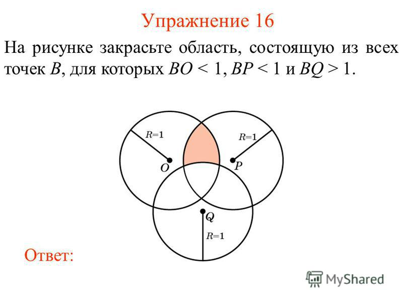 Упражнение 16 На рисунке закрасьте область, состоящую из всех точек B, для которых BO 1. Ответ: