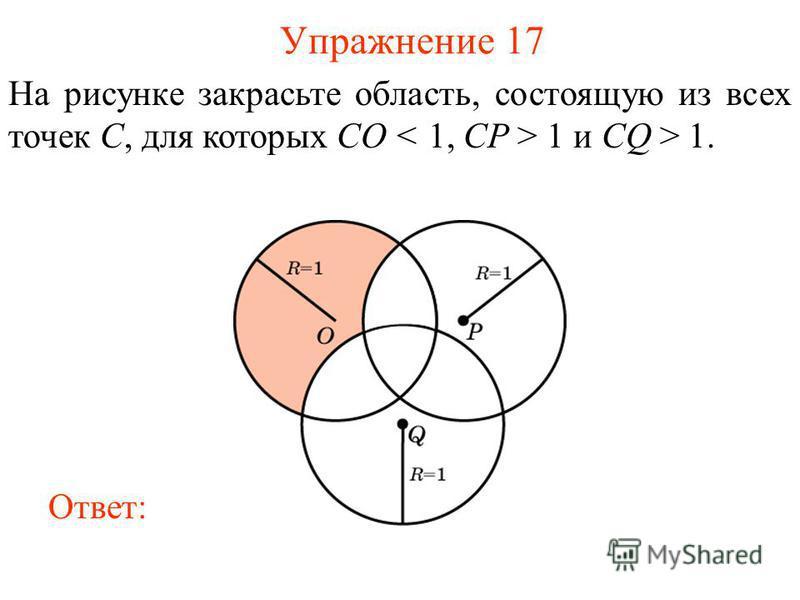 Упражнение 17 На рисунке закрасьте область, состоящую из всех точек С, для которых СO 1 и CQ > 1. Ответ: