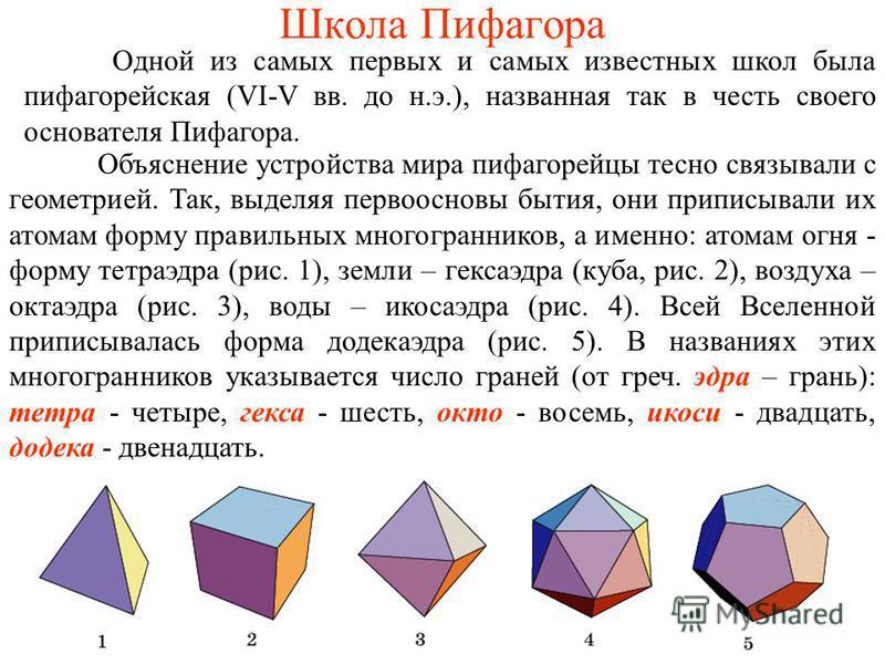 Школа Пифагора Одной из самых первых и самых известных школ была пифагорейская (VI-V вв. до н.э.), названная так в честь своего основателя Пифагора. Объяснение устройства мира пифагорейцы тесно связывали с геометрией. Так, выделяя первоосновы бытия,