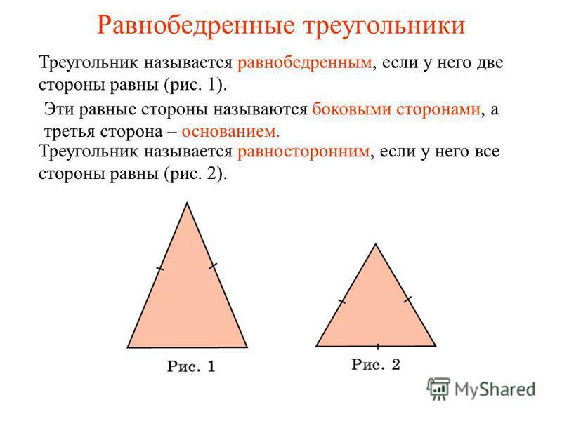 Равнобедренные треугольники Треугольник называется равнобедренным, если у него две стороны равны (рис. 1). Эти равные стороны называются боковыми сторонами, а третья сторона – основанием. Треугольник называется равносторонним, если у него все стороны