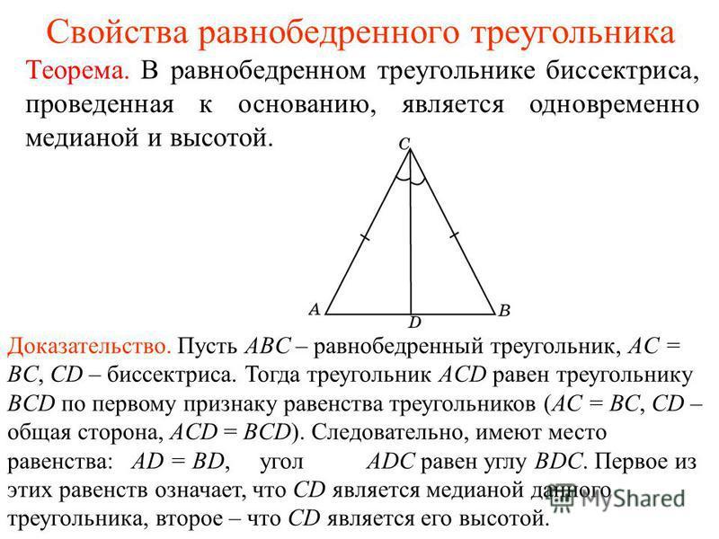 Свойства равнобедренного треугольника Теорема. В равнобедренном треугольнике биссектриса, проведенная к основанию, является одновременно медианой и высотой. Доказательство. Пусть ABC – равнобедренный треугольник, AC = BC, CD – биссектриса. Тогда треу
