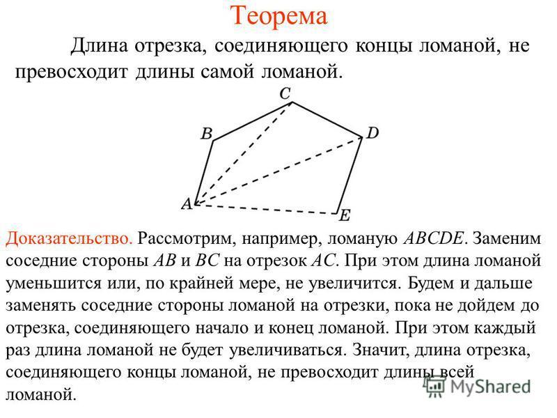 Теорема Длина отрезка, соединяющего концы ломаной, не превосходит длины самой ломаной. Доказательство. Рассмотрим, например, ломаную ABCDE. Заменим соседние стороны AB и BC на отрезок AC. При этом длина ломаной уменьшится или, по крайней мере, не уве