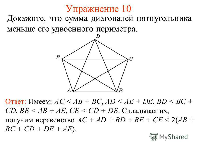 Упражнение 10 Докажите, что сумма диагоналей пятиугольника меньше его удвоенного периметра. Ответ: Имеем: AС < AB + BC, AD < AE + DE, BD < BC + CD, BE < AB + AE, CE < CD + DE. Складывая их, получим неравенство AC + AD + BD + BE + CE < 2(AB + BC + CD