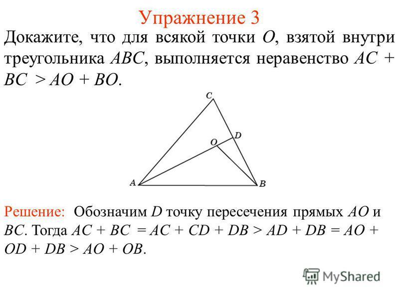 Упражнение 3 Докажите, что для всякой точки O, взятой внутри треугольника ABC, выполняется неравенство AC + BC > AO + BO. Решение: Обозначим D точку пересечения прямых AO и BC. Тогда AC + BC = AC + CD + DB > AD + DB = AO + OD + DB > AO + OB.