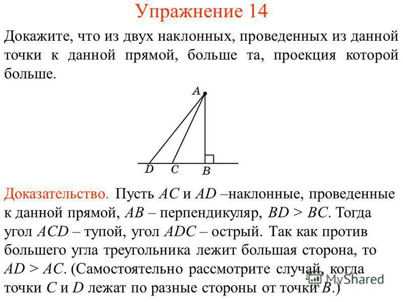 Упражнение 14 Докажите, что из двух наклонных, проведенных из данной точки к данной прямой, больше та, проекция которой больше. Доказательство. Пусть AC и AD –наклонные, проведенные к данной прямой, AB – перпендикуляр, BD > BC. Тогда угол ACD – тупой