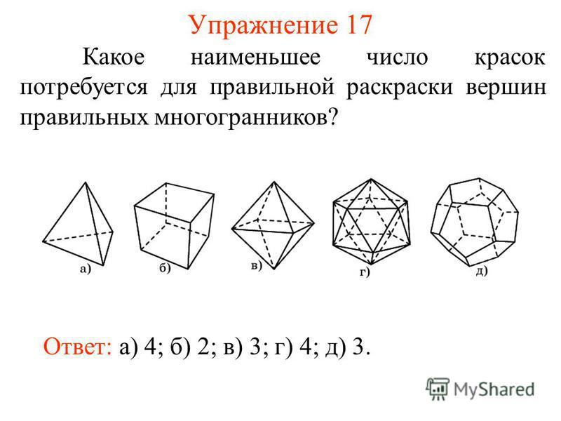 Упражнение 17 Какое наименьшее число красок потребуется для правильной раскраски вершин правильных многогранников? Ответ: а) 4; б) 2; в) 3; г) 4; д) 3.