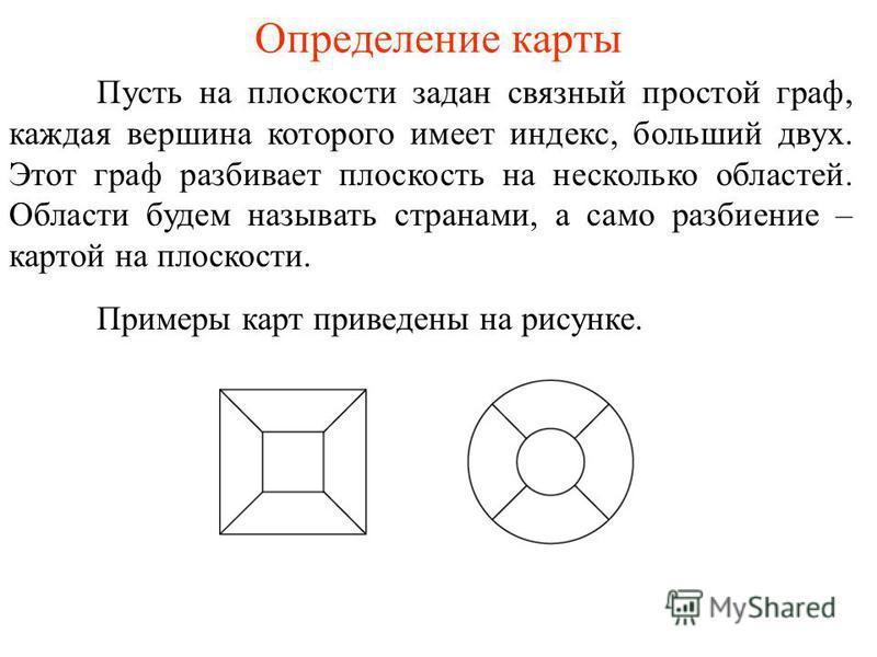 Определение карты Пусть на плоскости задан связный простой граф, каждая вершина которого имеет индекс, больший двух. Этот граф разбивает плоскость на несколько областей. Области будем называть странами, а само разбиение – картой на плоскости. Примеры