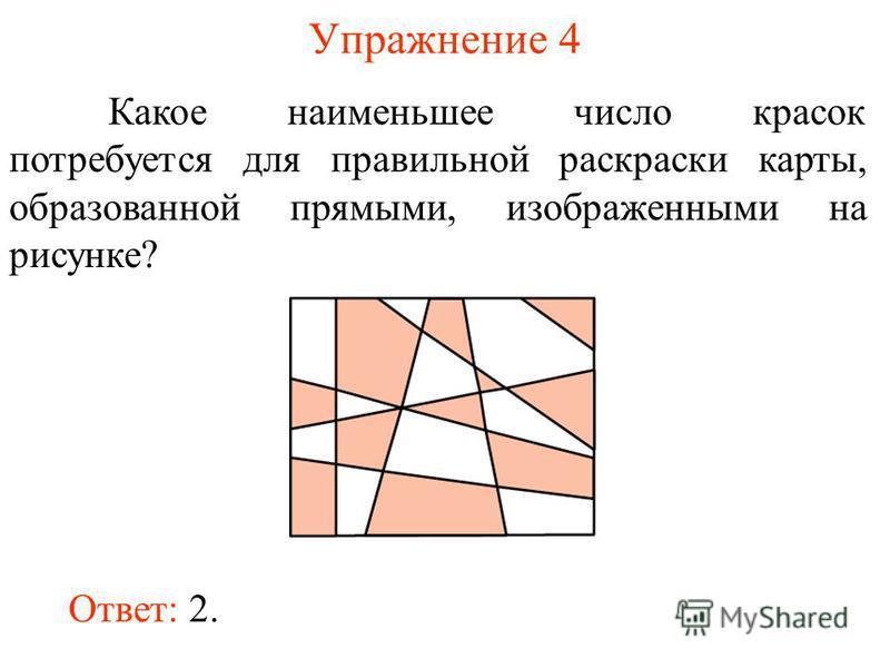 Упражнение 4 Какое наименьшее число красок потребуется для правильной раскраски карты, образованной прямыми, изображенными на рисунке? Ответ: 2.
