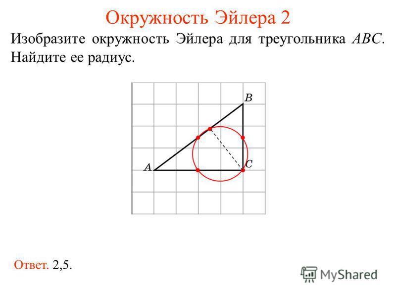 Окружность Эйлера 2 Изобразите окружность Эйлера для треугольника ABC. Найдите ее радиус. Ответ. 2,5.