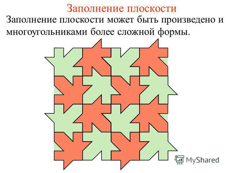 Заполнение плоскости Заполнение плоскости может быть произведено и многоугольниками более сложной формы.