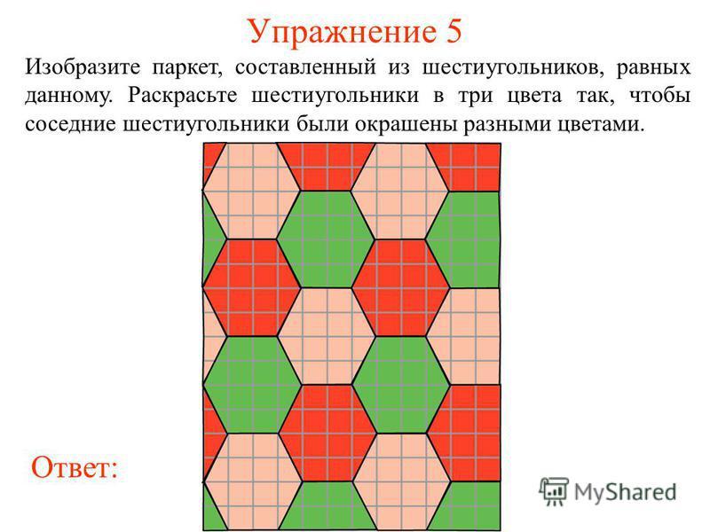 Упражнение 5 Изобразите паркет, составленный из шестиугольников, равных данному. Раскрасьте шестиугольники в три цвета так, чтобы соседние шестиугольники были окрашены разными цветами. Ответ: