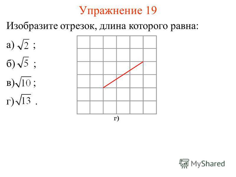 Упражнение 19 Изобразите отрезок, длина которого равна: а) ; б) ; в) ; г).