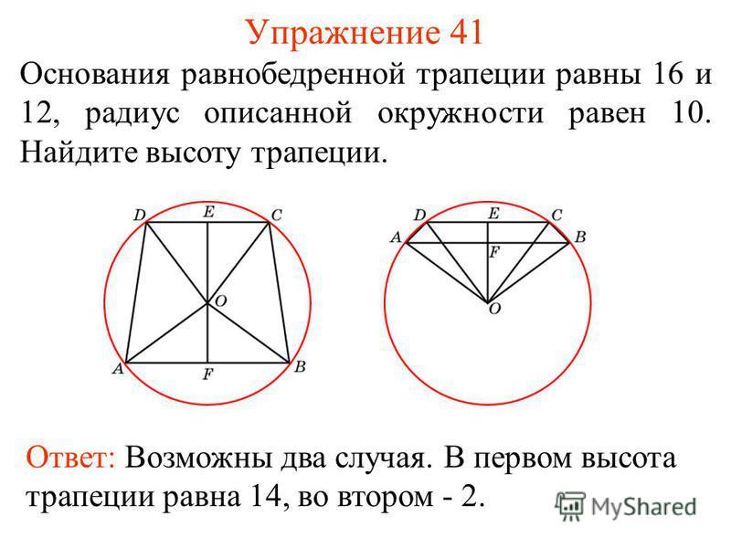 Упражнение 41 Основания равнобедренной трапеции равны 16 и 12, радиус описанной окружности равен 10. Найдите высоту трапеции. Ответ: Возможны два случая. В первом высота трапеции равна 14, во втором - 2.