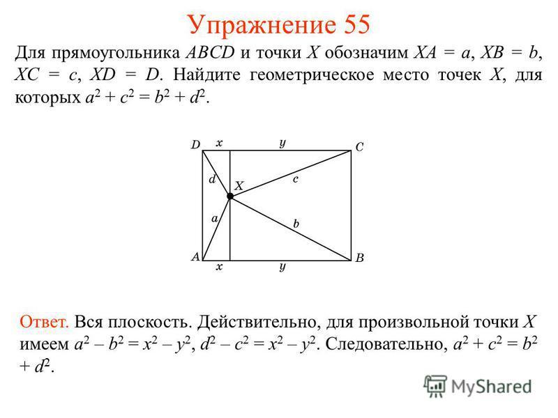 Упражнение 55 Для прямоугольника ABCD и точки X обозначим XA = a, XB = b, XC = c, XD = D. Найдите геометрическое место точек X, для которых a 2 + c 2 = b 2 + d 2. Ответ. Вся плоскость. Действительно, для произвольной точки X имеем a 2 – b 2 = x 2 – y