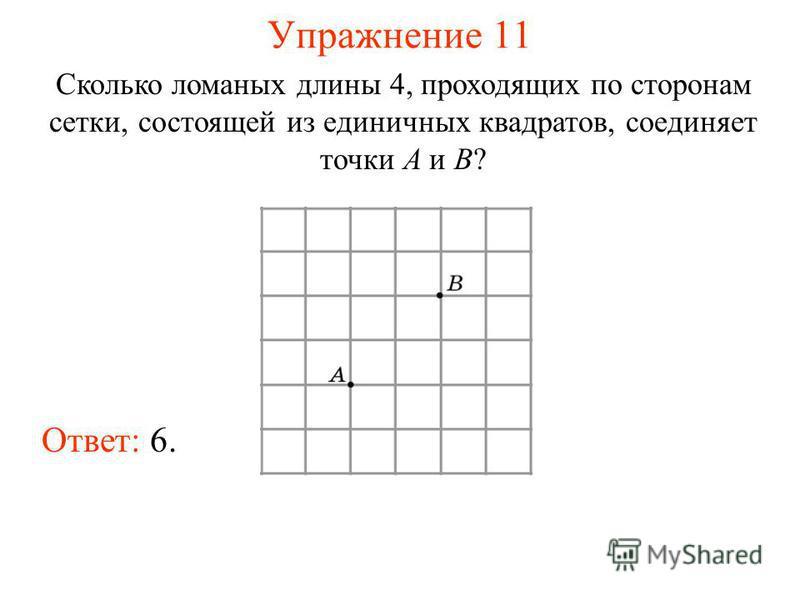 Упражнение 11 Сколько ломаных длины 4, проходящих по сторонам сетки, состоящей из единичных квадратов, соединяет точки A и B? Ответ: 6.