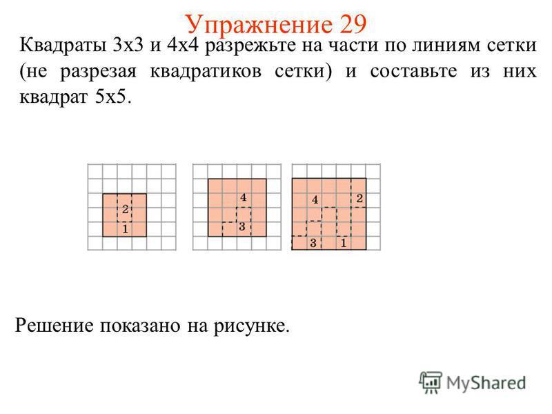 Упражнение 29 Квадраты 3 х 3 и 4 х 4 разрежьте на части по линиям сетки (не разрезая квадратиков сетки) и составьте из них квадрат 5 х 5. Решение показано на рисунке.