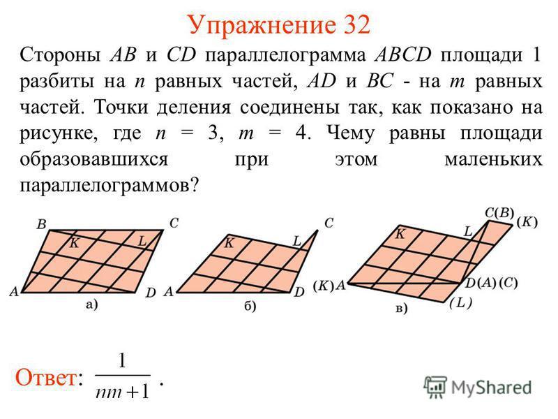 Упражнение 32 Стороны АВ и CD параллелограмма ABCD площади 1 разбиты на n равных частей, AD и ВС - на m равных частей. Точки деления соединены так, как показано на рисунке, где n = 3, m = 4. Чему равны площади образовавшихся при этом маленьких паралл