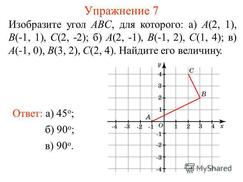 Упражнение 7 Изобразите угол ABC, для которого: а) A(2, 1), B(-1, 1), C(2, -2); б) A(2, -1), B(-1, 2), C(1, 4); в) A(-1, 0), B(3, 2), C(2, 4). Найдите его величину. Ответ: а) 45 о ; б) 90 о ; в) 90 о.