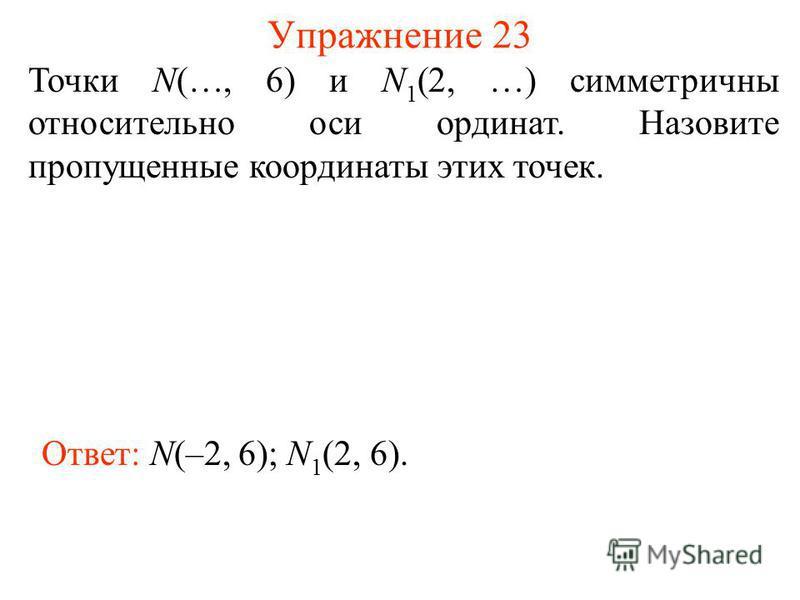 Упражнение 23 Точки N(…, 6) и N 1 (2, …) симметричны относительно оси ординат. Назовите пропущенные координаты этих точек. Ответ: N(–2, 6); N 1 (2, 6).
