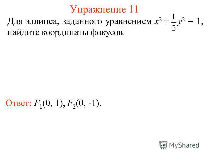 Упражнение 11 Ответ: F 1 (0, 1), F 2 (0, -1). Для эллипса, заданного уравнением x 2 + y 2 = 1, найдите координаты фокусов.