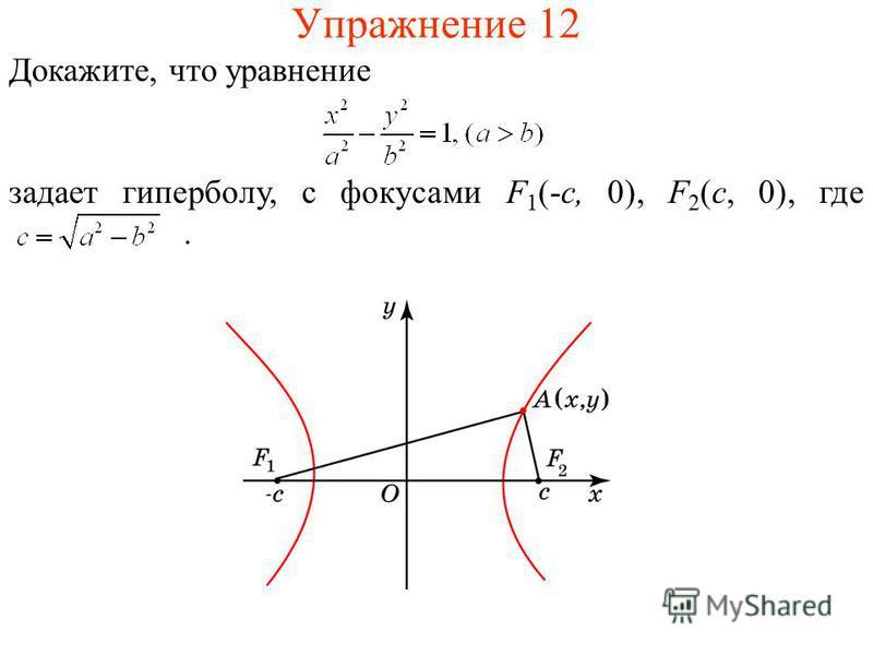 Упражнение 12 Докажите, что уравнение задает гиперболу, с фокусами F 1 (-c, 0), F 2 (c, 0), где.