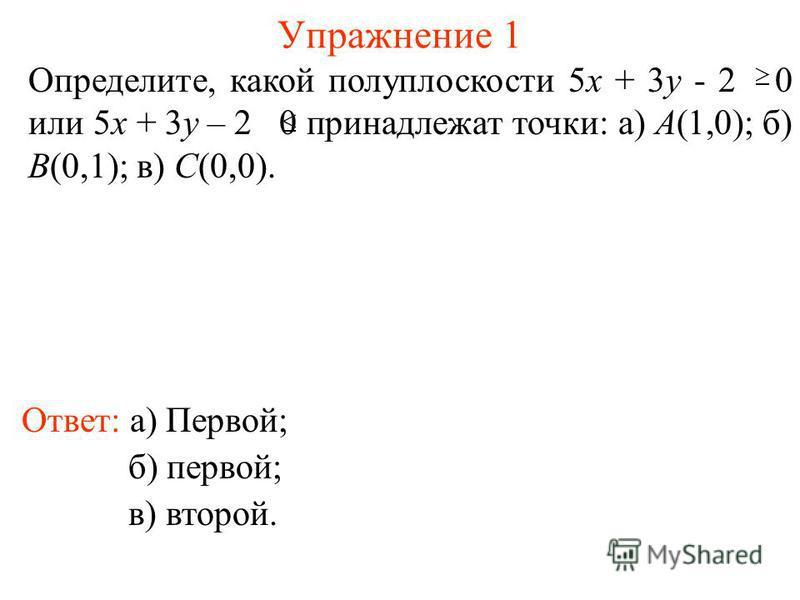 Упражнение 1 Ответ: а) Первой; Определите, какой полуплоскости 5x + 3y - 2 0 или 5x + 3y – 2 0 принадлежат точки: а) А(1,0); б) B(0,1); в) C(0,0). б) первой; в) второй.