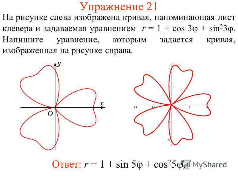 Упражнение 21 На рисунке слева изображена кривая, напоминающая лист клевера и задаваемая уравнением r = 1 + cos 3 + sin 2 3. Напишите уравнение, которым задается кривая, изображенная на рисунке справа. Ответ: r = 1 + sin 5 + cos 2 5.