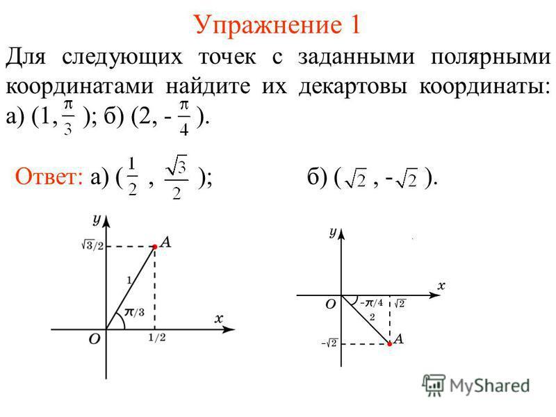 Упражнение 1 Для следующих точек с заданными полярными координатами найдите их декартовы координаты: а) (1, ); б) (2, - ). Ответ: а) (, ); б) (, - ).
