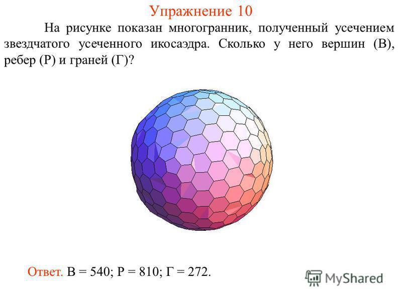 Упражнение 10 На рисунке показан многогранник, полученный усечением звездчатого усеченного икосаэдра. Сколько у него вершин (В), ребер (Р) и граней (Г)? Ответ. В = 540; Р = 810; Г = 272.