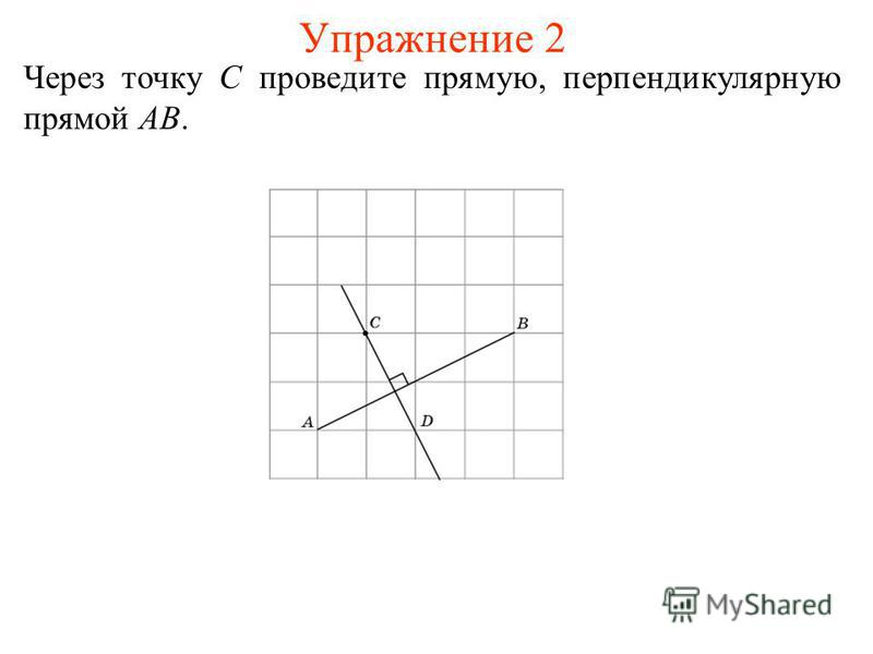Упражнение 2 Через точку C проведите прямую, перпендикулярную прямой AB.