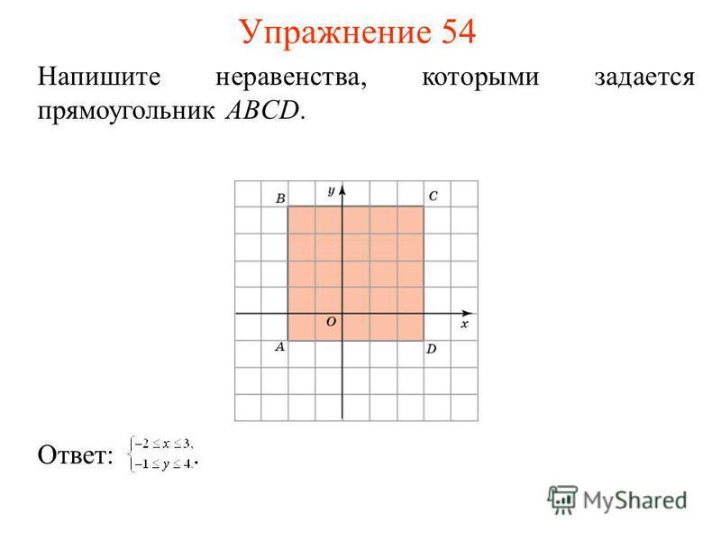 Упражнение 54 Напишите неравенства, которыми задается прямоугольник ABCD. Ответ:.