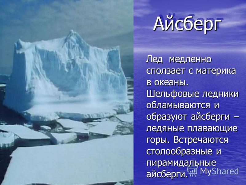 Айсберг Айсберг Лед медленно сползает с материка в океаны. Шельфовые ледники обламываются и образуют айсберги – ледяные плавающие горы. Встречаются столообразные и пирамидальные айсберги. Лед медленно сползает с материка в океаны. Шельфовые ледники о