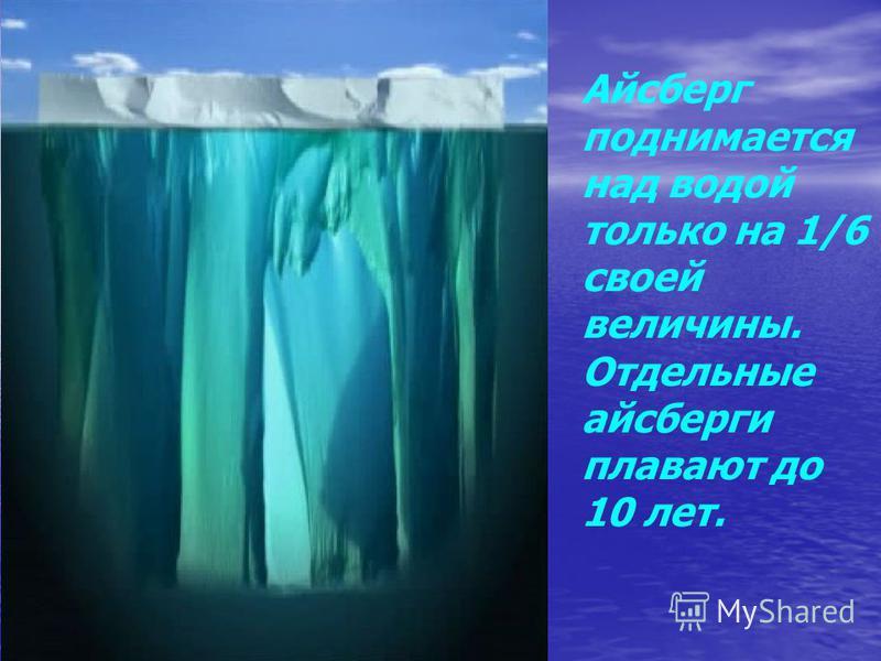 Айсберг поднимается над водой только на 1/6 своей величины. Отдельные айсберги плавают до 10 лет.